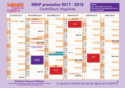 Calendrier Paie Dgfip.Calendrier 2017 Enfip B Controleur 2017 2018 Solidaires