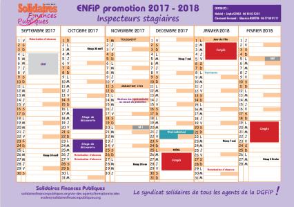 Calendrier Paie Dgfip.Calendrier 2017 Enfip Inspecteur 2017 2018 Solidaires