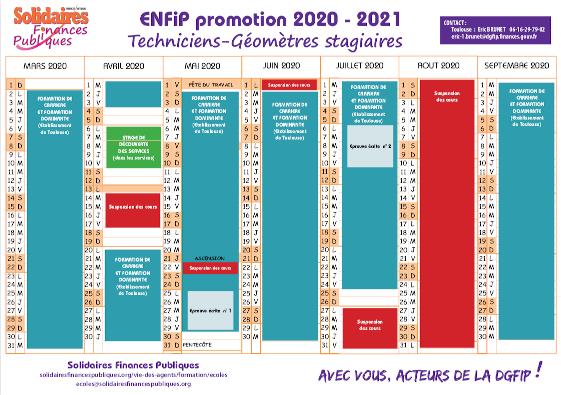 Calendrier Titularisation Stagiaires 2021 Calendrier ENFiP Techniciens Géomètres stagiaires   2020/2021